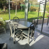 table Diana et chaises 002 rotin veranda table ronde rallonge titanio exodia home design rennes