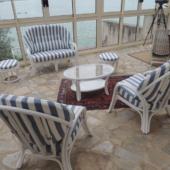 038 salon Golf rotin veranda raye bleu blanc exodia home design rennes