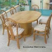 sejour Diana table rotin veranda miel mat et chaises exodia home design rennes