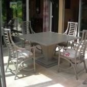 sejour Talia table et chaises rotin square gris veranda exodia