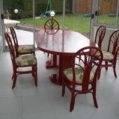 sejour Diana table ronde rojo extensible rotin veranda exodia home design