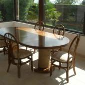 sejour Diana rotin veranda table ronde extensible chocolat exodia home design rennes