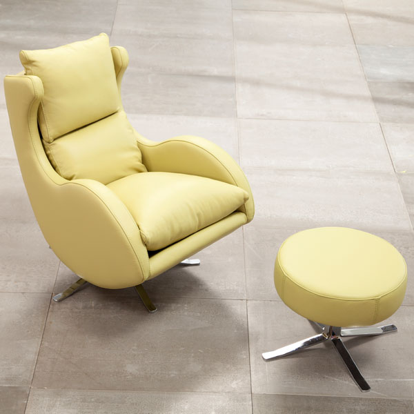 fauteuil relax Lenny FAMA  cuir paille