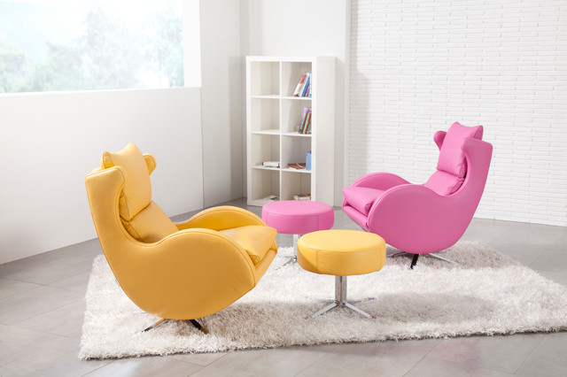 fauteuil relax Lenny FAMA cuir rose & citron