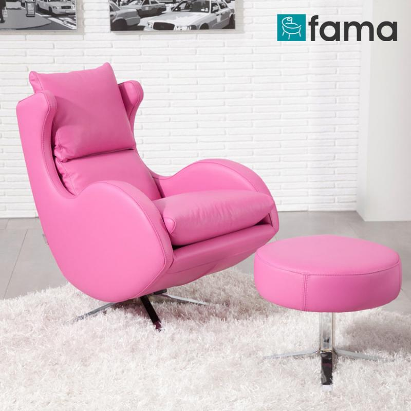 fauteuil relax Lenny FAMA  cuir rose