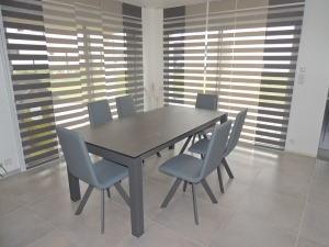 sejour veranda table ceramique extensible grise exodia
