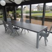 table extensible ceramique gris 2 rallonges veranda