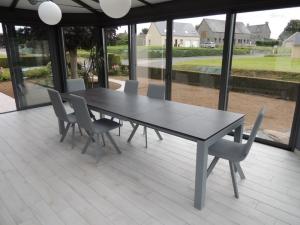 table extensible ceramique gris 2 rallonges veranda