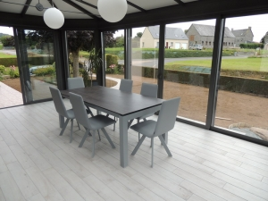 table extensible ceramique veranda gris clair veranda