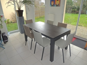 table veranda ceramique extensible chaises bicolor exodia