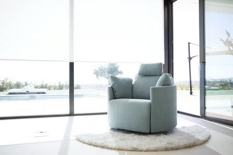 fauteuil MOON cuir bleu