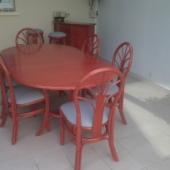 138 table extensible et chaises rotin Tolede