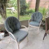 150 fauteuils rotin Golf tissu bleu