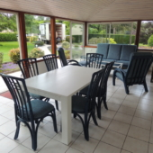 153 meuble rotin veranda bleu Valence