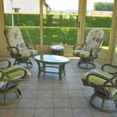 162 fauteuil rotin Madrid vert lagune veranda