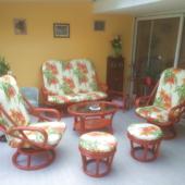 056 salon Madrid rotin rouge fauteuil pivotant exodia home design rennes
