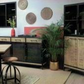 bahut et vitrine industriel bois metal