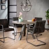 table bois metal rond 120 ou 140 industriel