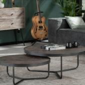 2 tables design industriel bois metal