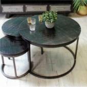 table gigognes bois metal industriel
