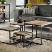 tables gigognes industriel bois metal