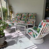 186 salon veranda Valence rotin blanc