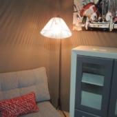 lampadaire scoubidou blanc