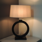 lampe bois rond noir luminaire deco