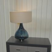 lampe verre soufle bleue luminaire